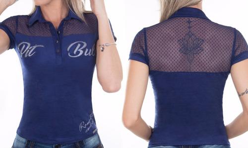 Blusa Polo Feminina Pit Bull Jeans Ref  25075 Oferta - R  219 en ... 54717fa21fd