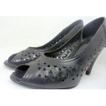 Sapato Calçado Feminino Salto Alto Scarpin Peep Toe Preto