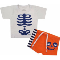 Camiseta + Sunga Cara De Criança Esqueleto - Branca/laranja