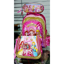 Kit Mochila Infantil Feminina Escolar As Princesas Mágicas
