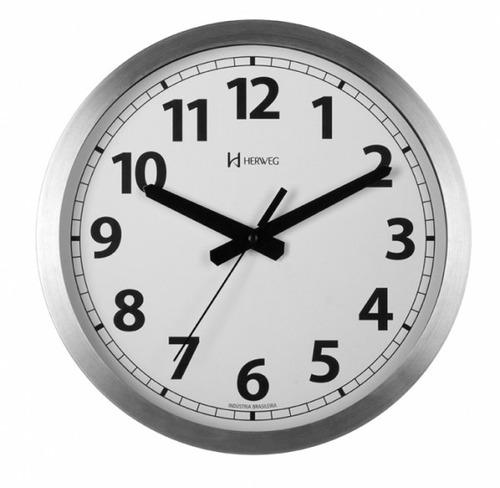c1510c2b6f2 Relógio Silencioso De Parede 30 Cm Aluminio Herweg 6711s