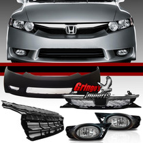Kit Combo New Civic 09 2010 2011 Milha + Parachoque + Grade