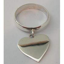 Anel / Aliança - Em Prata 950 - Com Coração - Frete Grátis