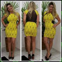 Vestido Limone Curto Estampa Rio Detalhe Seg.pele Ref 03847