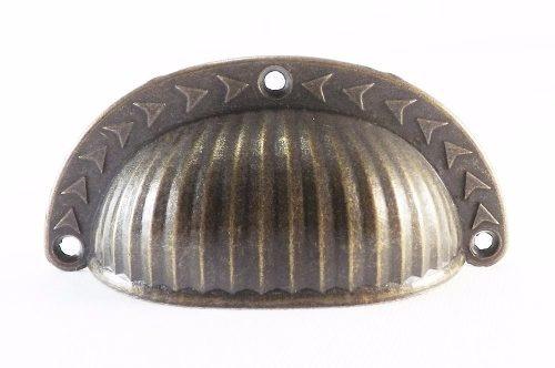 Kit 2 Puxador Colonial Bronze Cristaleira Concha Trabalhada