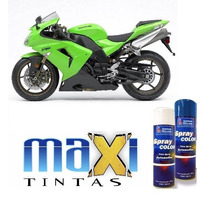 Tinta Spray Automotiva Kawasaki Verde Solido + Verniz 300ml
