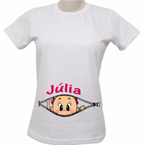G147 Camiseta Grávida, Gestante, Bebê Barriga Personalizado