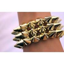Pulseira/bracelete Spikes Estilo Rock-punk Dourada