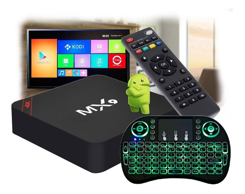 Tv Box Smart 4k + Mini Teclado Mx 9 Youtube Netflix Facebook