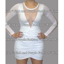 Vestido Viscolycra Com Decote Em Tule Juju Salimeni