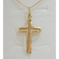 Swjoias Colar Corrente Feminina 45cm Crucifixo Cruz Ouro18k