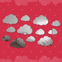 Kit Espelho Decorativo Sala - Nuvens 12 Peças