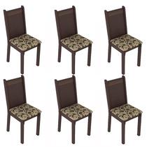 Conjunto 6 Cadeiras Lucy Madesa Tabaco/floral Bege/marrom