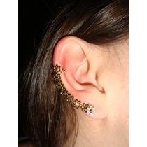 Ear Cuff Folheado Ouro 18k Flores Com Swarovskis
