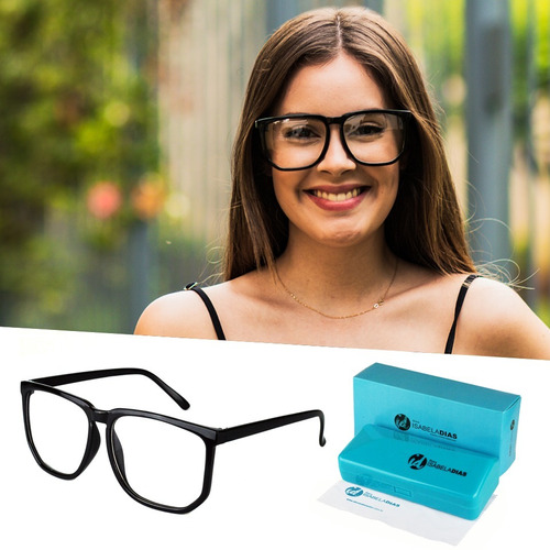 94a863c21 Armaçã Óculos Grau Feminino Quadrado Grande Isabela Dias 005 à venda ...