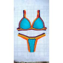 Biquini De Croche Neon Azul Turquesa Aqua Bella Biquinis