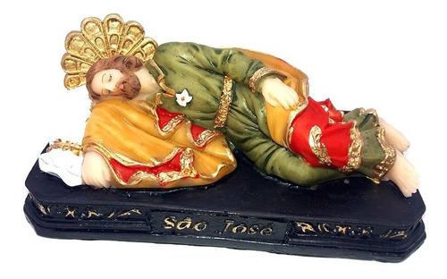 Imagem São José Deitado Resina Papa Tem No Escritório 12,5cm