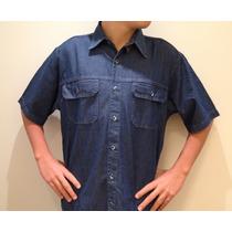 Camisa Masculina Jeans Manga Curta Com 2 Bolsos Da Fábrica