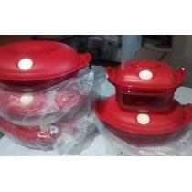 Kit Policarbonato Vermelho Cristal Pop Importado Tupperware