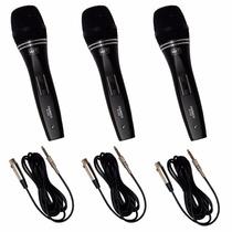 Kit C/ 3 Microfones Profissionais Black M235 Mxt + Cabo 3mts