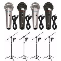 Kit 4 Microfones Profissionais + 4 Pedestais + Cabos