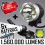 Lanterna Led T6 Farol Bike Cabeça T6 Pac 6 Baterias + Alerta
