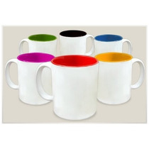 10 Caneca De Plástico Para Sublimação Com Interior Coloridos