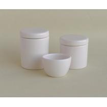 Ceramica Branca Kit Higiene 2 Potes 1 Cumbuca Bebê Porcelana