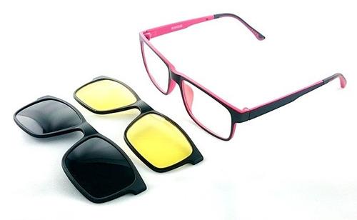 6ffaa5394b45b Armação Oculos Grau Com 2 Clip On Ts618 C3 Preto Polarizado R 99.9 ...