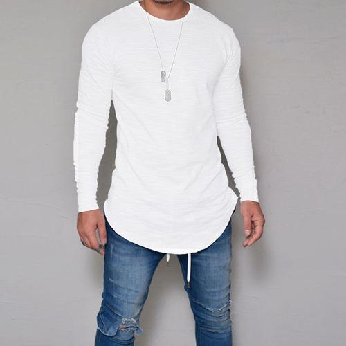 bec7c607a Camiseta Oversized Swag Longline Camisa Manga Longa Branca