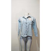Camisa Jeans Feminina Vários Tamanhos Moda Manga Longa