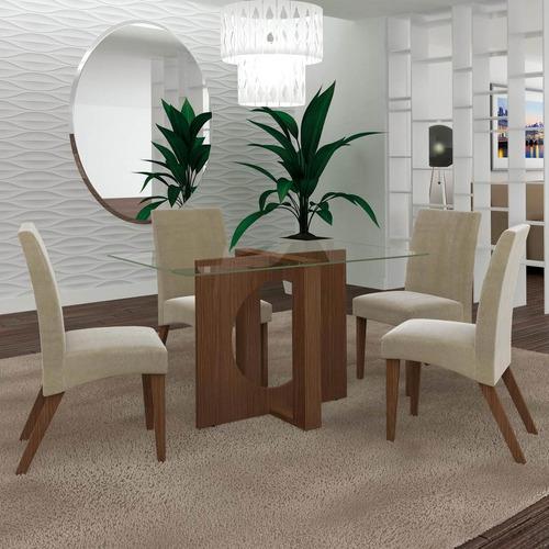 Conjunto Sala De Jantar Mesa E 4 Cadeiras Atuale Lj