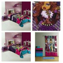 Kit 5pç Monster High Edredom+lençol+fronha+cortina+toalha