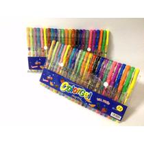 Caneta Gel Glitter Colorida Sortida Kit Escolar 24cores Neon