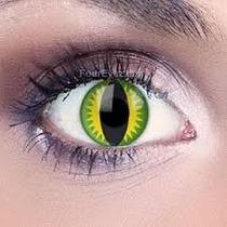 Lente De Contato Halloween Olho De Dragao Verde