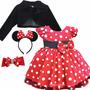 Vestido Infantil De Festa Minnie Vermelha Com 2 Tiara Bolero