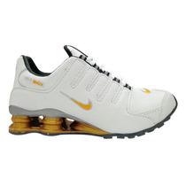 Tênis Nike Shox Nz Branco E Dourado Original
