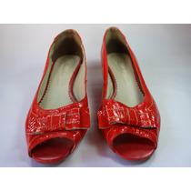 Sapato Peep Toe Laranja Shuster Tamanho 38