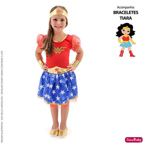 384bec2fe2 Vestido Mulher Maravilha Fantasia Infantil Frete Grátis à venda em Santos  São Paulo por apenas R  120