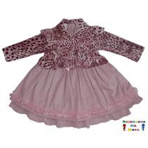 Vestido De Festa Infantil Inverno Veludo Com Casaco Plush