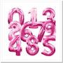 Balão Metalizado Número Rosa Grande 100cm Aniversário Festa