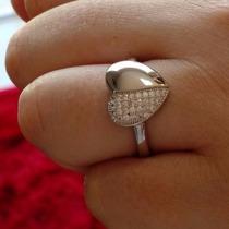 Anel Feminino Coração Pavê Cravejado Cristal Prata De Lei925