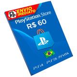 Cartão Psn Playstation R$60 Reais Cartão Br Brasil Psn 60 Re