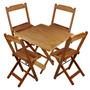 Jogo De Mesa E Cadeiras Dobráveis Madeira S/ Pintura 70x70cm
