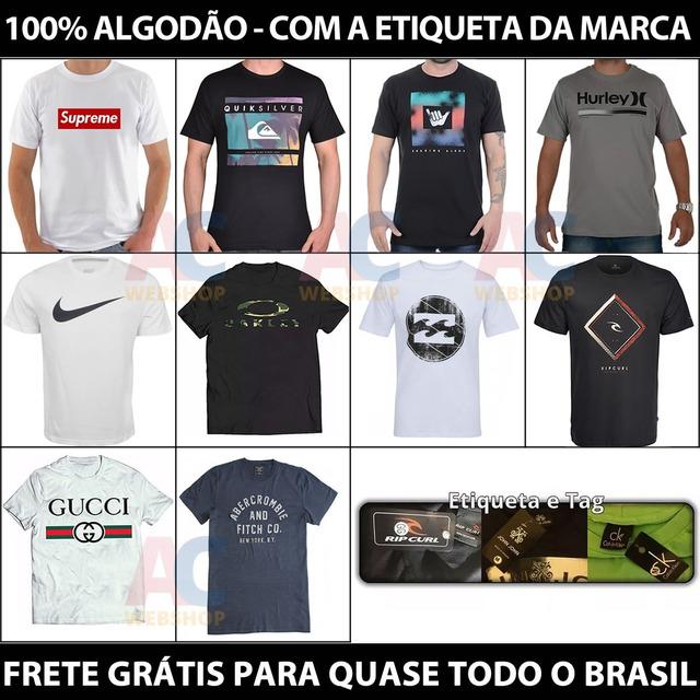 97283b8610 Kit 10 Camiseta Camisa Blusa Masculina De Marca Importada... em Belo ...