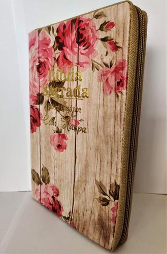 Bíblia Sagrada Letra Gigante Harpa E Corinho Ziper Cor Preta