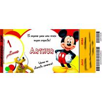50 Convite De Aniversário Ingresso Vip Mickey 48horas