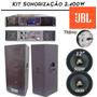 Kit Sonorização Jbl 2 Caixas 1 Amplificador Crossover 2400w