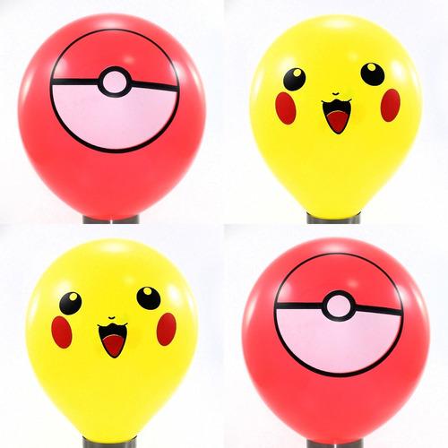 40 Unidades - Balão - Bexiga Pikachu E Pokébola