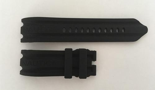 221ef02b100 Pulseira Relógio Nautica 24mm Preta Silicone